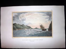 d'Urville 1835 Folio Hand Col Print. The Astrolabe Ship at New Zealand
